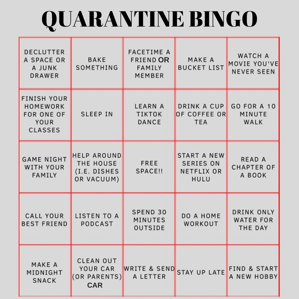 Quarantine Bingo sheet